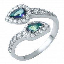 Серебряное кольцо Сильвия с топазом мистик и фианитами