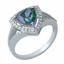 Серебряное кольцо Петрония с топазом мистик и фианитами
