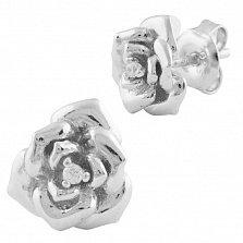Серебряные серьги-пуссеты Розина с фианитами