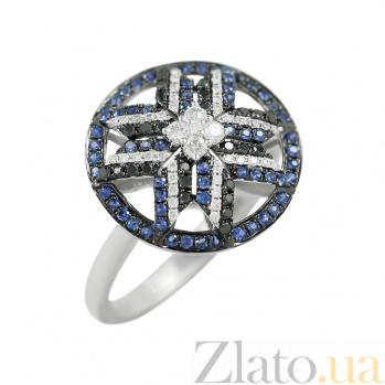 Золотое кольцо Зориана с бриллиантами и сапфирами 000026821