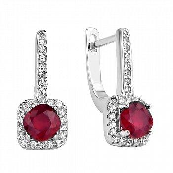 Серебряные серьги с рубином и фианитами 000117839