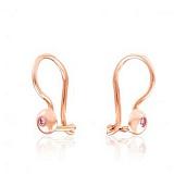 Золотые сережки Лучики с розовыми фианитами