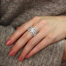 Серебряное кольцо Переливы с белыми фианитами разной огранки
