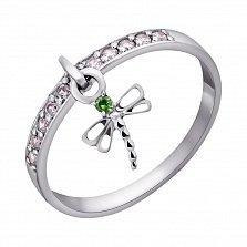 Серебряное кольцо Стрекоза с зеленым гранатом и цирконием