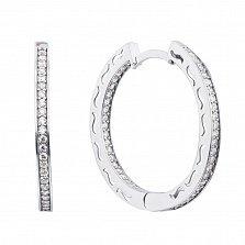 Серебряные серьги-конго Роскошные кольца с дорожками фианитов и орнаментом