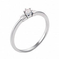 Кольцо в белом золоте Зара с бриллиантом