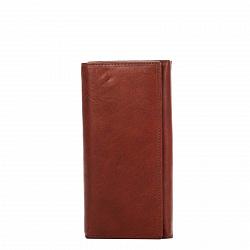 Кожаный кошелек Genuine Leather pt035 кирпичного цвета на кнопках