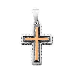 Серебряный крестик с золотой накладкой, фианитами и чернением 000116089