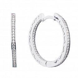 Серебряные серьги-конго с дорожками фианитов и орнаментом, 32мм 000127105