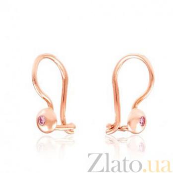 Золотые сережки Лучики с розовыми фианитами EDM--С0335Р