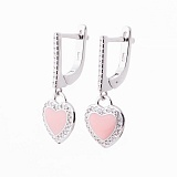 Серебряные серьги Сердечки с фианитами и розовой эмалью