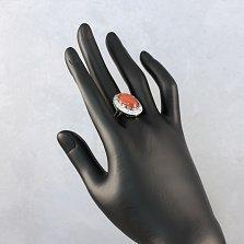 Серебряное кольцо Спартанка с узорами, кораллом и фианитами