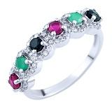 Серебряное кольцо Мирра с рубинами, изумрудами, сапфирами и фианитами