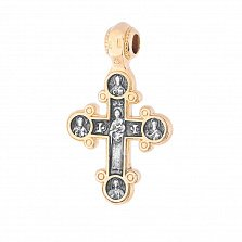 Серебряный крестик Духовная жизнь с позолотой