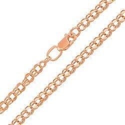 Золотая цепь из красного золота Исида с алмазной гранью в плетении бисмарк