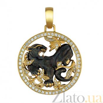 Золотая подвеска Хищник с цирконием VLT--Т377-1