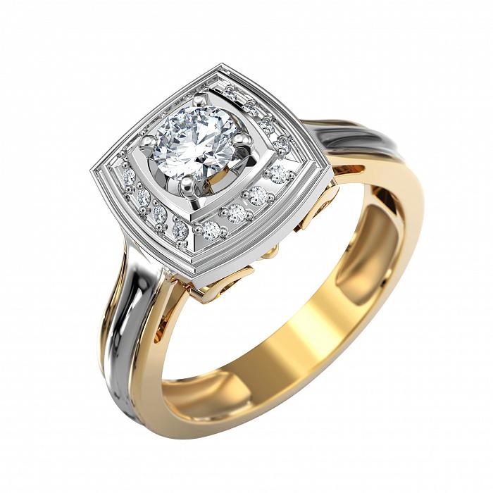 Золотой перстень-печатка Французский шик в комбинированном цвете с бриллиантами VLA--14430