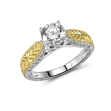 Кольцо из желтого и белого золота Круз с бриллиантами