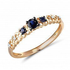Кольцо из красного золота Урсула с сапфирами и бриллиантами