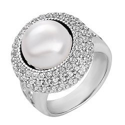 Серебряное кольцо Ардин с белым жемчугом и цирконием 000040232