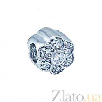 Серебряная бусина с фианитами Цветок 000027016