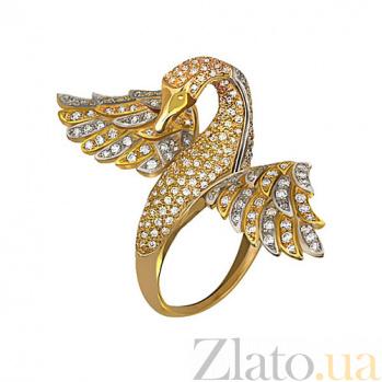 Кольцо из желтого золота Лебедь с фианитами VLT--ТТ1065-1