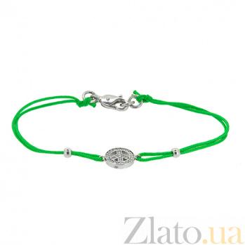 Шелковый браслет Мир с серебряными вставками с цирконием ZMX--BCCz-00200-Ag_K