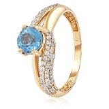 Золотое кольцо Вива с топазом и фианитами