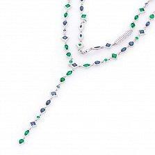 Серебряное колье Гретэль с зелеными, синими и белыми фианитами