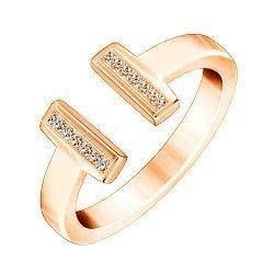 Серебряное кольцо с фианитами и позолотой в стиле Тиффани 000070069