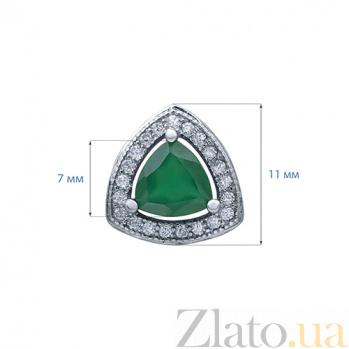 Серебряные серьги с зеленым агатом Жаклин AQA--E00825Ag