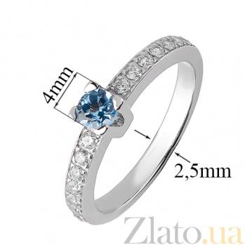 Кольцо Наяда из белого золота с голубым топазом и цирконием TRF--1221546н
