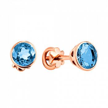 Серьги-пуссеты из красного золота с голубыми нано топазами 000133172