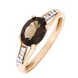 Золотое кольцо Лайза с раухтопазом и бриллиантами
