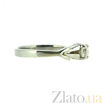 Золотое кольцо в белом цвете с бриллиантом Вивиан 000021490