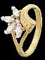 Серебряное кольцо Примроуз с фианитами и позолотой 000025596