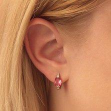 Серебряные родированные серьги Праздник Вселенной с розовым фианитом