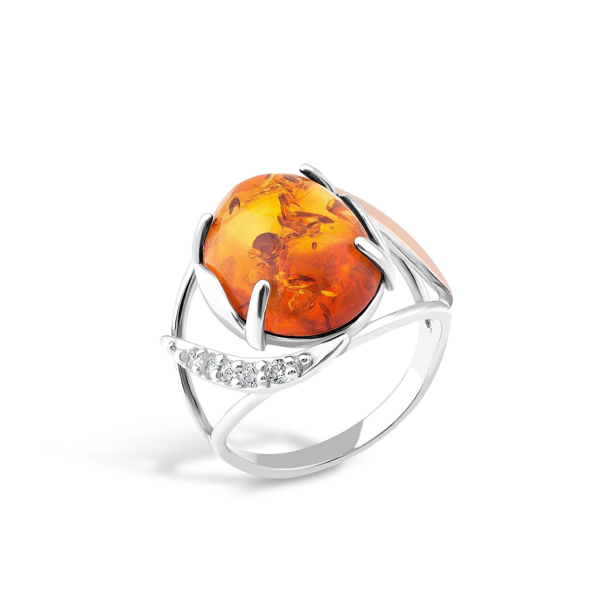 Серебряное кольцо Рейчел с золотой накладкой, янтарем и фианитами
