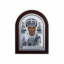 Икона Николая Чудотворца из серебра в дереве