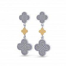 Серебряные серьги Антонелла с золотыми накладками, фианитами и родием