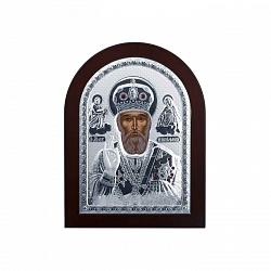 Икона Николая Чудотворца из серебра в дереве 000014050