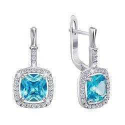 Серебряные серьги с голубыми и белыми фианитами 000029099