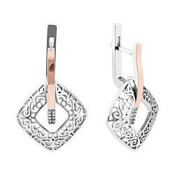 Серебряные серьги-подвески Виоланта с золотыми накладками, фианитами и родием 000079127