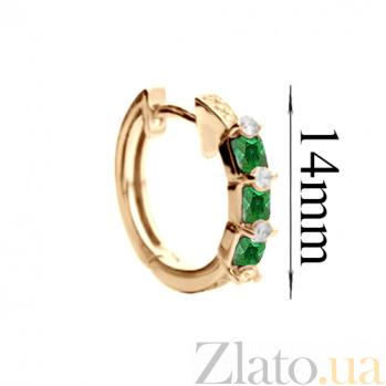 Серьги из красного золота с зелёными цирконами Альфа SG--70181120