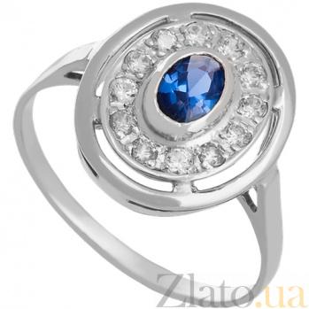 Золотое кольцо в белом цвете с цирконием Мелодия Орфея 000029232
