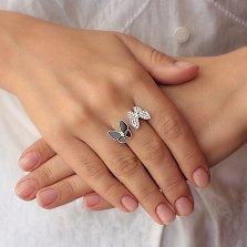 Серебряное разомкнутое кольцо Смелые бабочки с черной эмалью и белыми фианитами в стиле Ван Клиф
