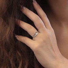 Серебряное кольцо Мисс мира с короной и белыми фианитами