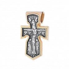 Серебряный крест Святой архангел Михаил с позолотой и чернением