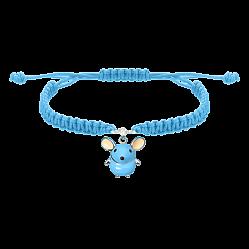 Детский плетеный браслет Голубая мышка с эмалью и фианитом, 10х20см