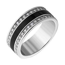 Серебряное обручальное кольцо с фианитами и эмалью 000051197